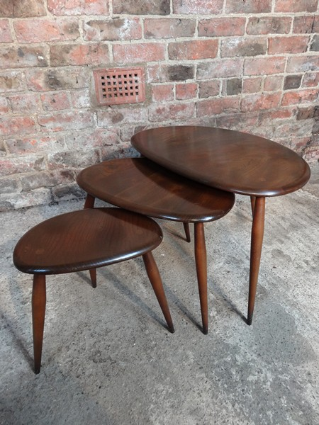 Organic dark stained Ercol nest of tables (3)