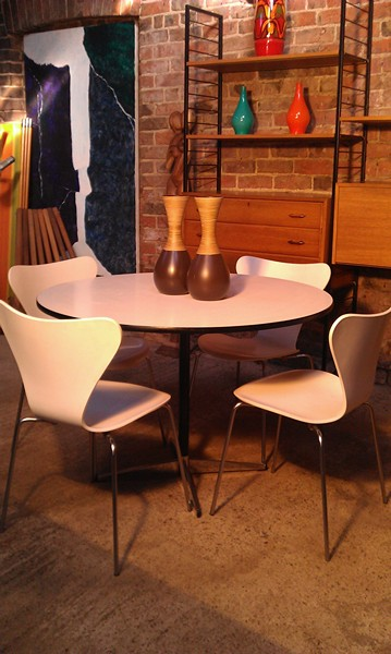 SOLD - Fritz Hansen table with four chairs