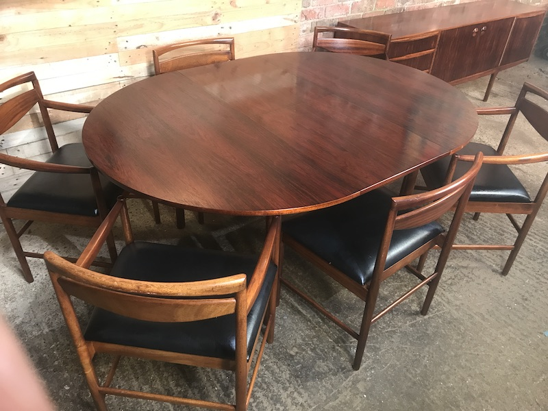 XL Rosewood Expandable Dining Table  with 6 Rosewood Dining Chairs