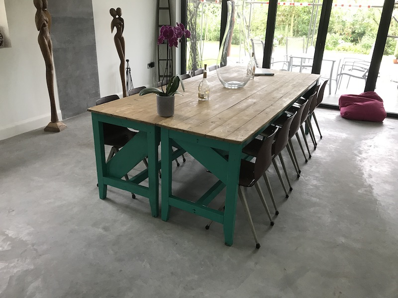 1910's XXL light retro green Industrial table /  kitchen table with 12 Paghold Industrial Retro Metal Bendwood Chair