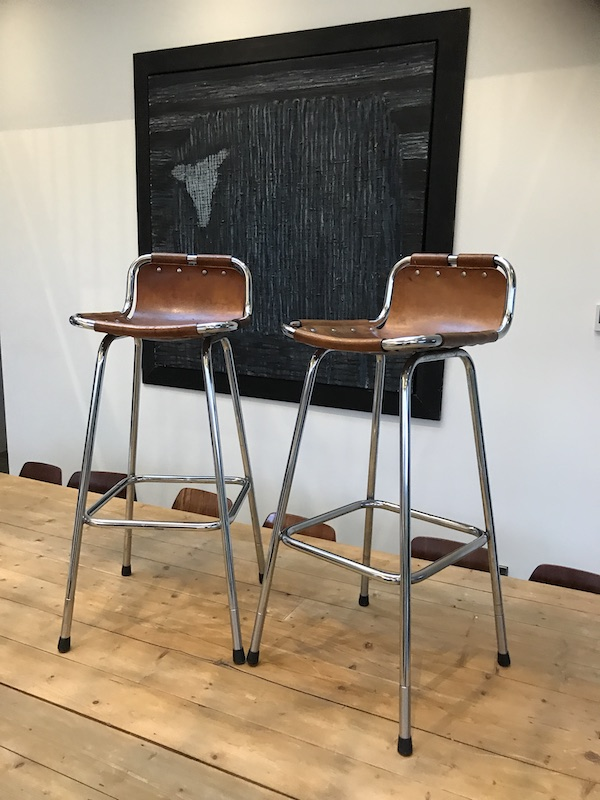 SOLD - 2x leather Charlotte Perriand Stools for Les Arcs 1960