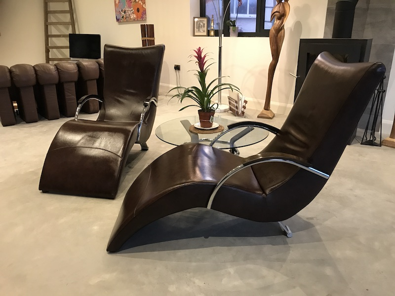 2x 20th Century Italian ox blood colored Leather Lounge Chairs (price on request)