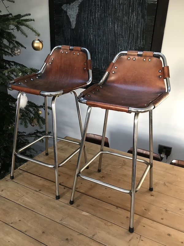 2x leather Charlotte Perriand Stools for Les Arcs 1960