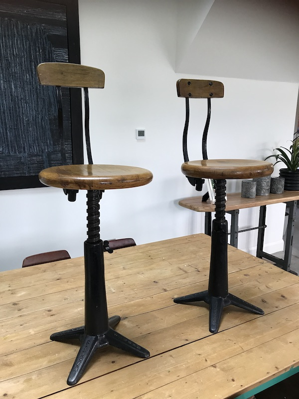 1920's Exceptional quality cast iron Singer industrial stools in original condition (price on request)