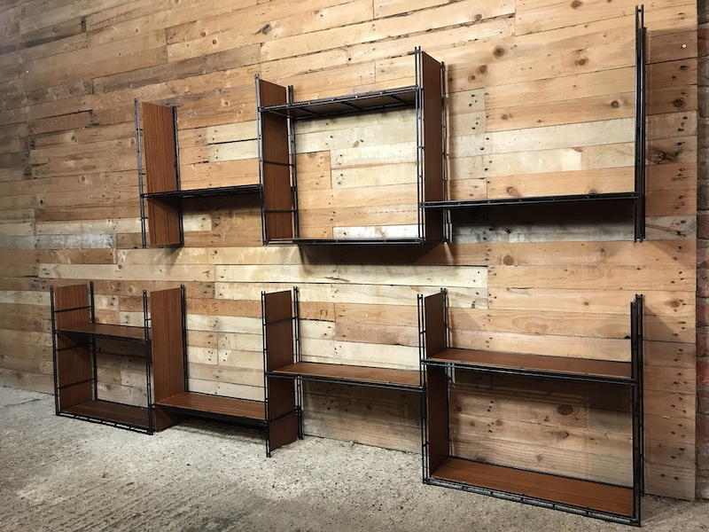 XXL 1960 Pilastro Tomado Style Multi Strux 19 section wall unit or freestanding shelving
