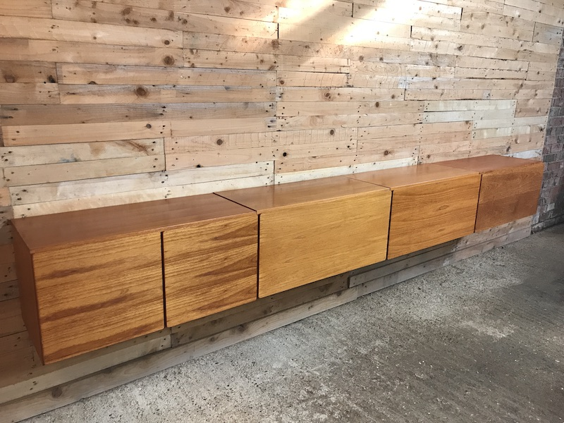 Exceptional totally free-hanging XXL teak 1960 Retro sideboard (N)