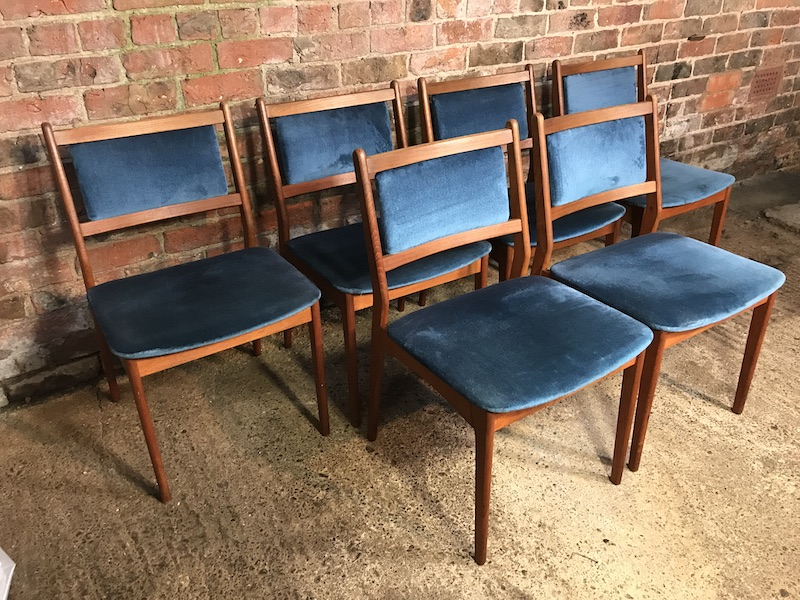 6 Danish vintage Retro 1960 teak dining Chairs with lovely original blue velvet fabric seat and backing