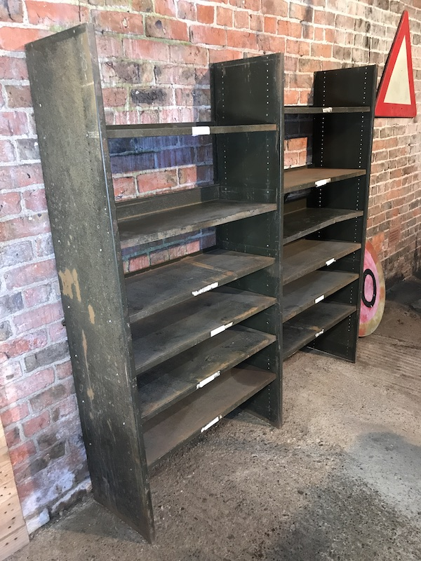 ca 1930 Industrial metal shelving