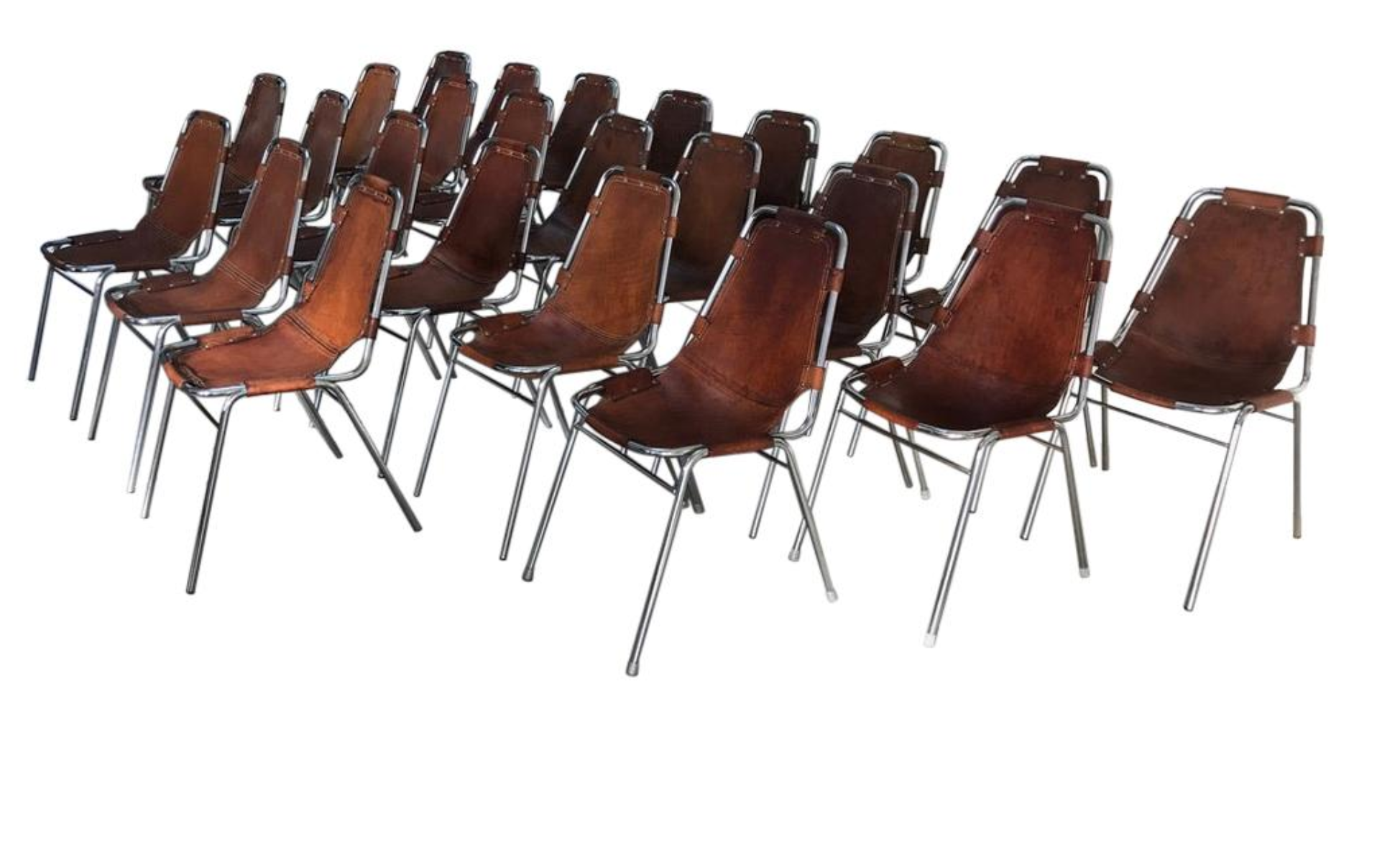 Retro Vintage 1960 Charlotte Perriand  Les Arcs Ski Resort  24 Leather Dining Chairs