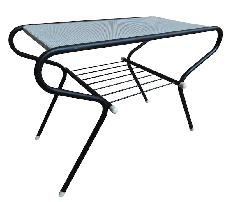 1950 Vintage Mathieu Mategot Black and White Metal Coffee Table