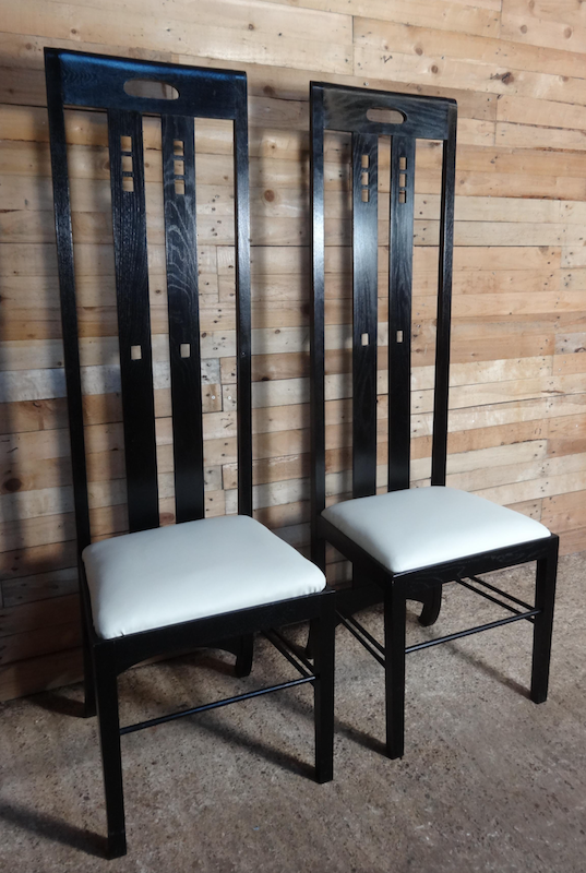 Art Nouveau Black Lacquered High Back Chair by Charles Rennie Mackintosh