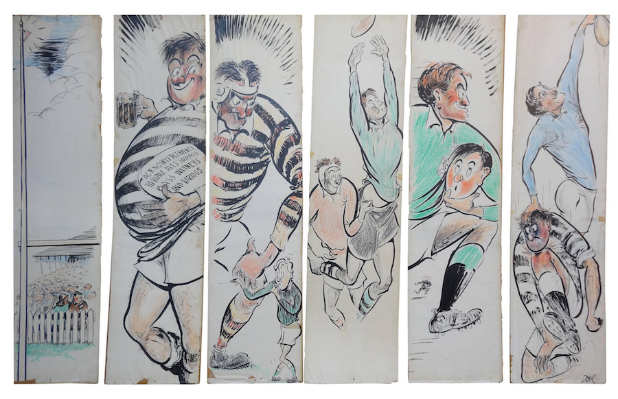 "Large Comical English Set of Six Drawings Related to a Rugby Match Artist ""Donk"""