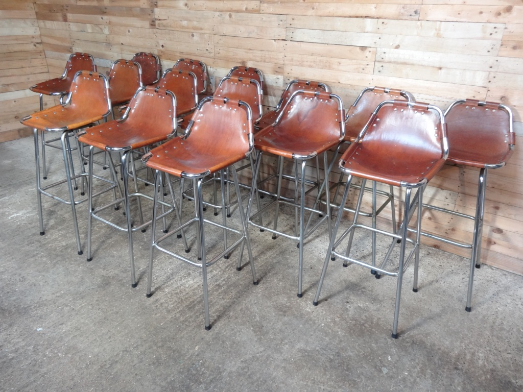15x leather Charlotte Perriand Stools for Les Arcs 1960 (Price on request)