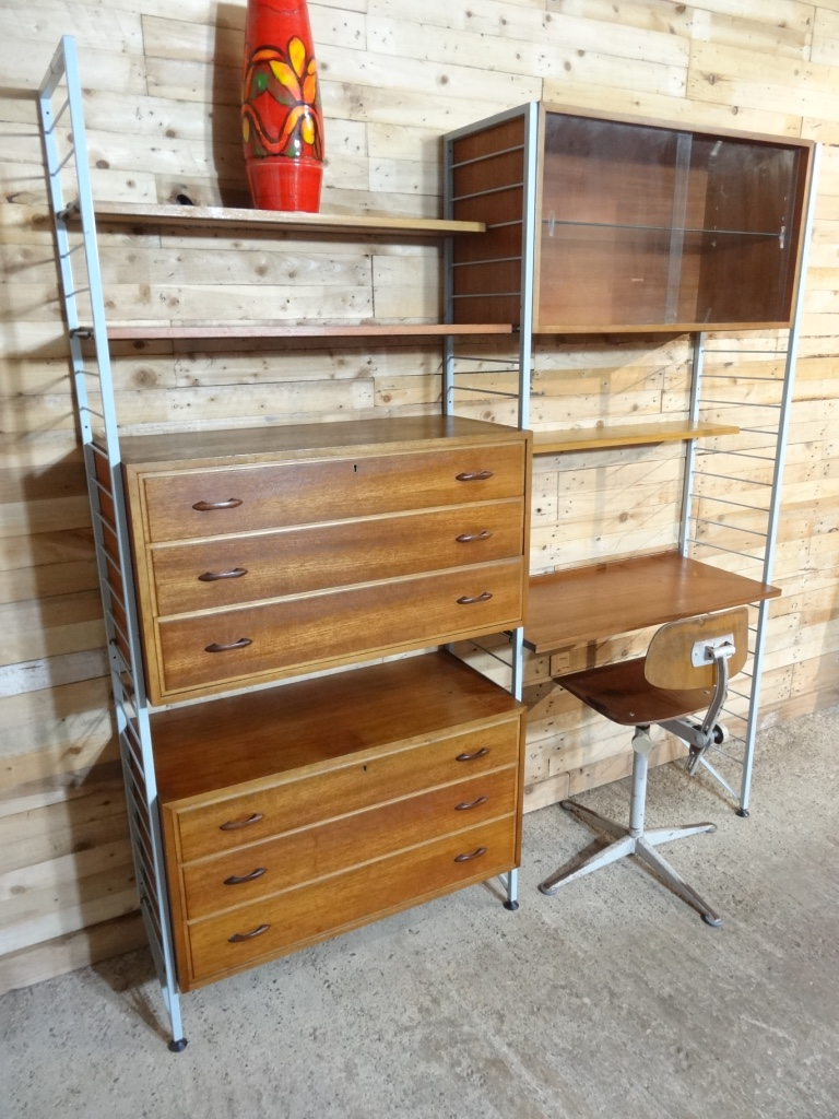 **SOLD**Lovely XXL grey metal framed teak wall System with desk
